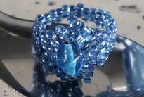 кольцо из синего бисера