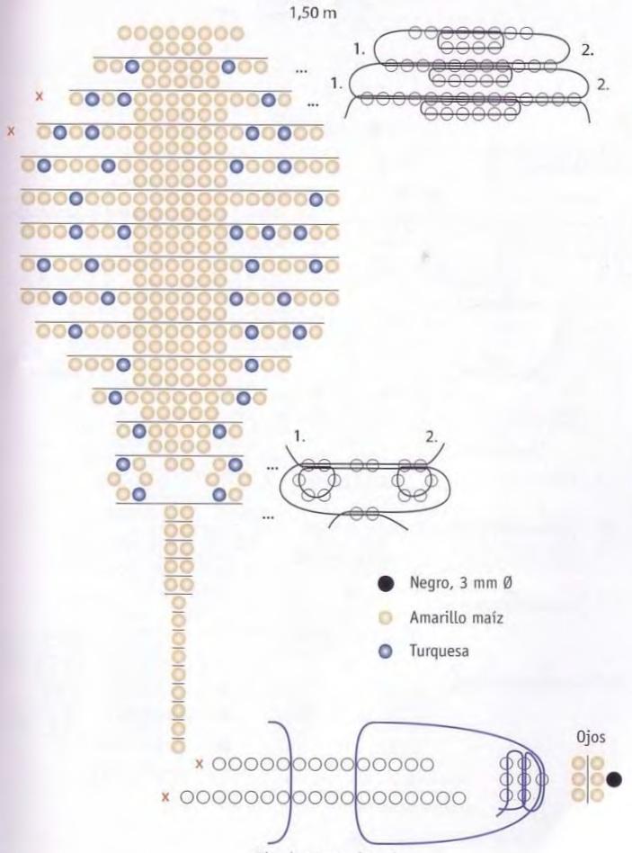 Схема его плетения.  Проволока серебристая 1,5 м. - 2 черные бисеринки для глаз - синий бисер для пятен...