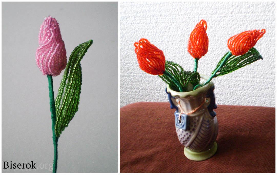 Тюльпаны из бисера схема плетения с пошаговым фото