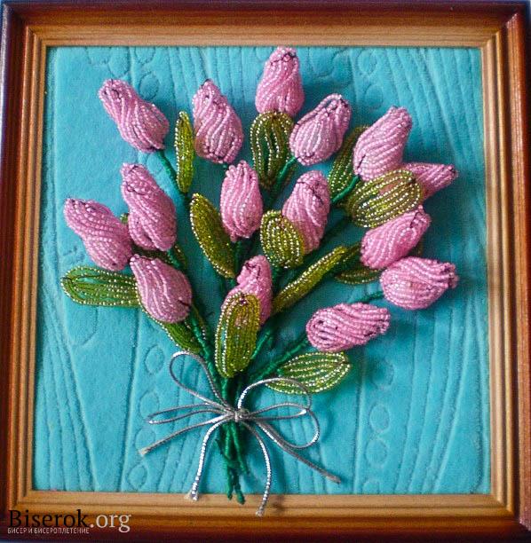 Букет тюльпанов из бисера,