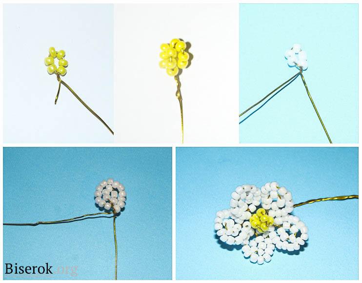 Для изготовления цветка клубники нам понадобится: 1 пачка белого бисера, проволока толщиной 0,3мм...