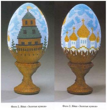 Оплетение яиц ручным ткачеством.