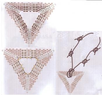 Схема плетения треугольного кулона из бисера рис.2
