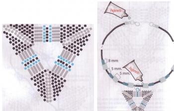 Схема плетения треугольного кулона из бисера рис.3
