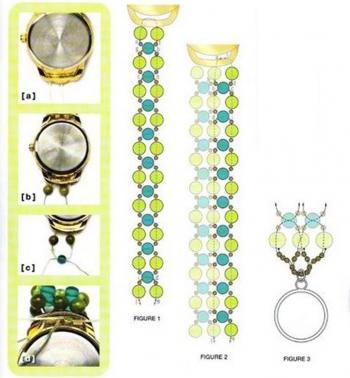 Подробная схема плетения браслета из бусин на часы
