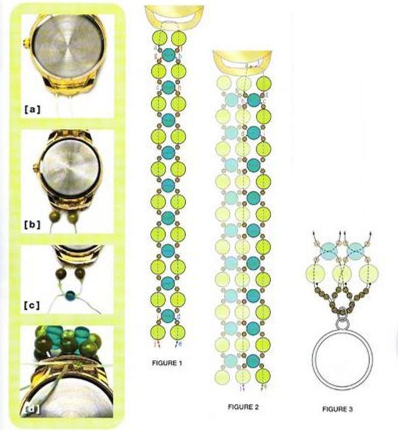 Подробная схема плетения браслета из бусин на часы.