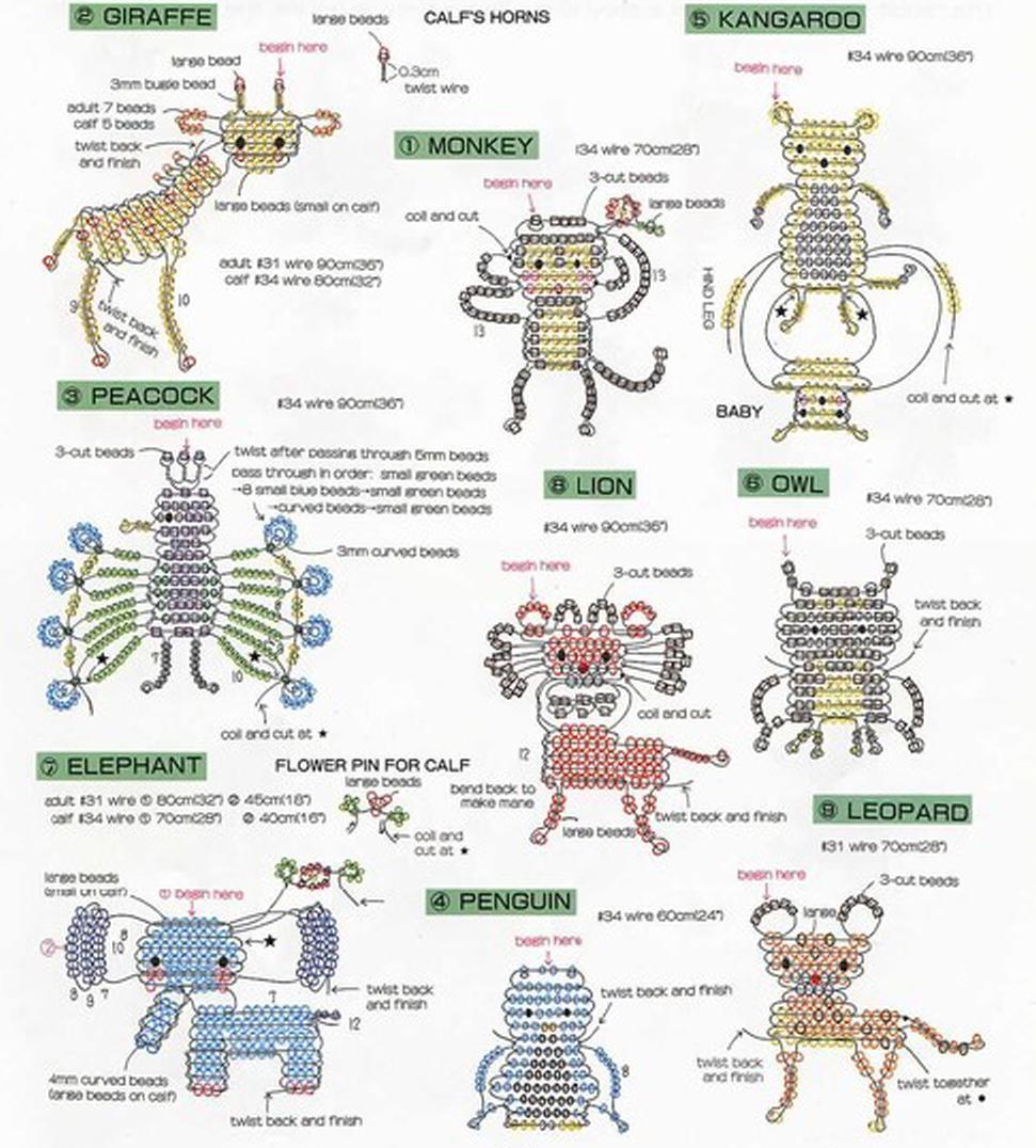 Схема плетения зверей из бисера.