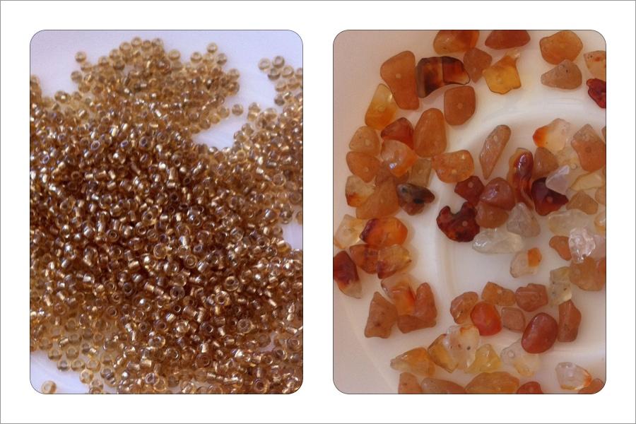 золотой бисер и камушки. материалы для плетения золотистого настенного панно из бисера.
