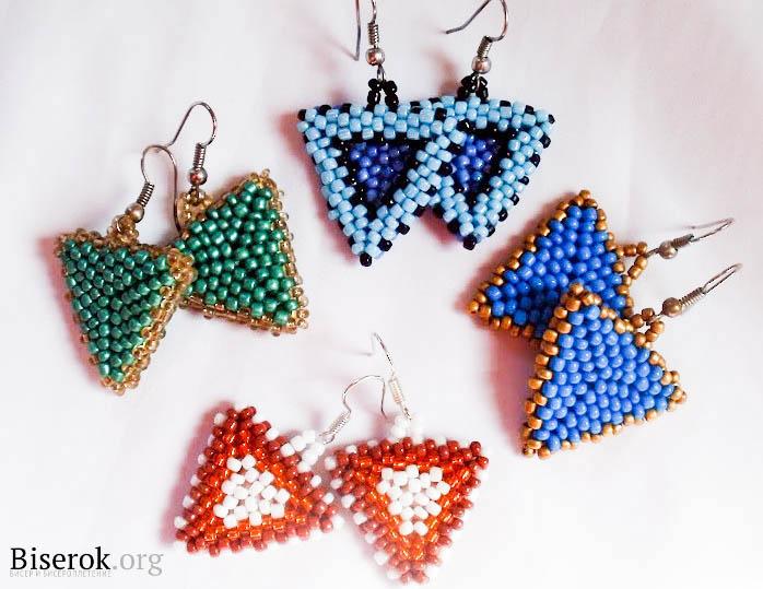 треугольные серьги