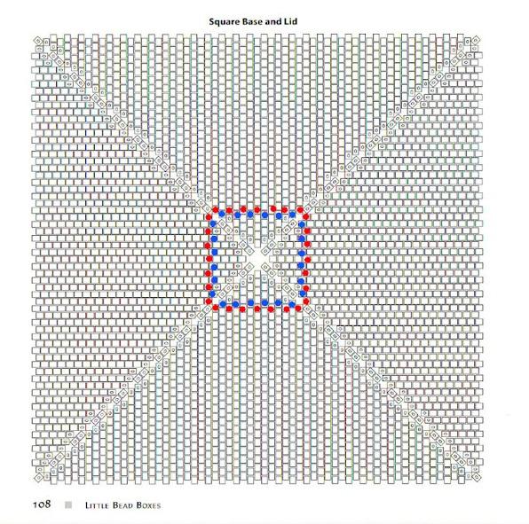 Синими точками обозначен первый ряд, красными - второй, в них пройдет игла при наборе 3-го ряда.  Далее по схеме.