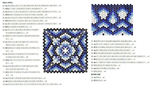 Схема плетения квадратной шкатулки из бисера