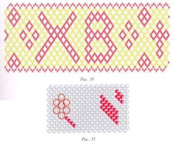 Схема оплетения пасхальных яиц узорами из бисера