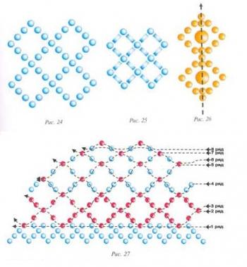 схема сетчатого оплетения яиц из бисера