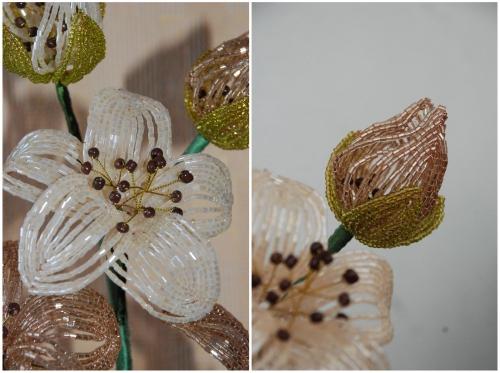 Цветок и бутон кофейного букета из бисера