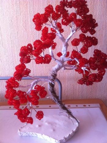 Красный бонсай из бисера.  Изготовление бонсая Красный дракон.