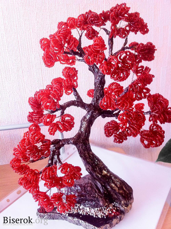 дерево из бисера схема плетения бонсай