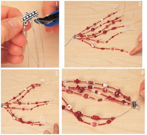 Пошаговый урок изготовления браслета из бисера.  Как сделать красный браслет.
