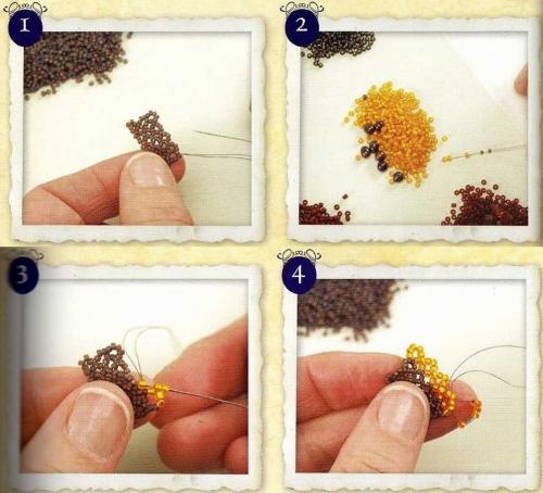 Плетение браслета.  Как плести браслет-гусеница из бисера рис. 1.