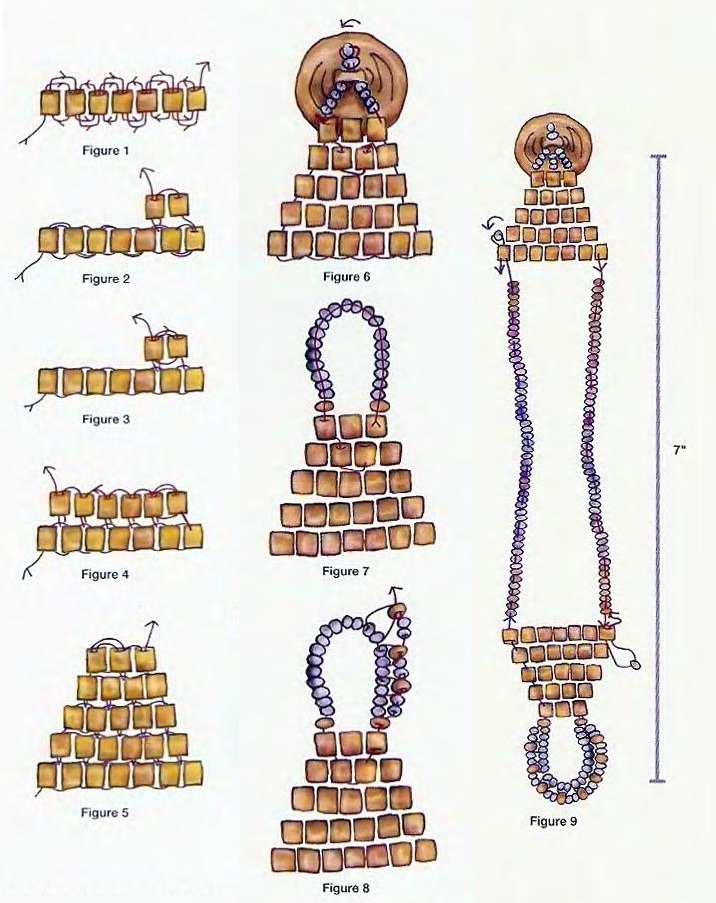 1. Начинаем плетение браслета с квадратного медного бисера. .  На рис. 1 показано начало плетения кирпичного стежка...