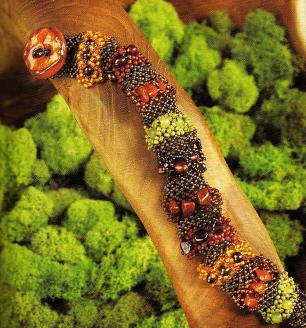 Объемный браслет, похожий на гусеницу.  Необходимый материал для браслета.  За основу берутся сочные цвета зеленых...