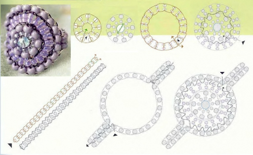 Схема плетения круглого кольца-ракушка из бисера