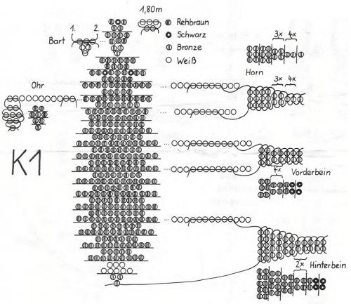 Схема плетения Козерога из бисера