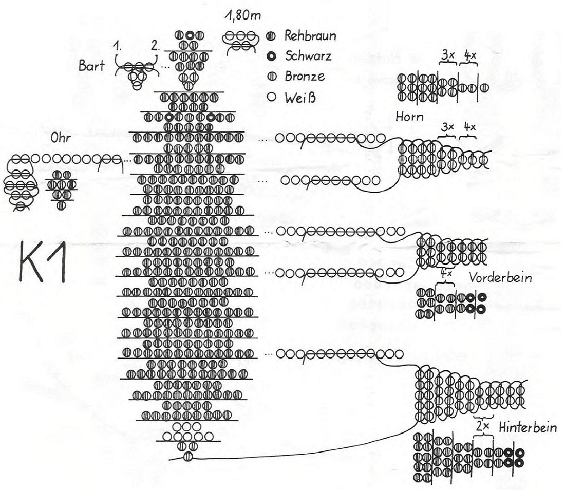 Схема плетения Козерога из бисера.