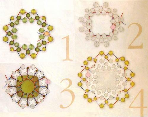 Схема плетения кулона из зеленого бисера и бусин рис. 1