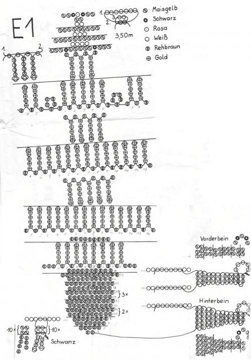 Схема знака зодиака льва из бисера
