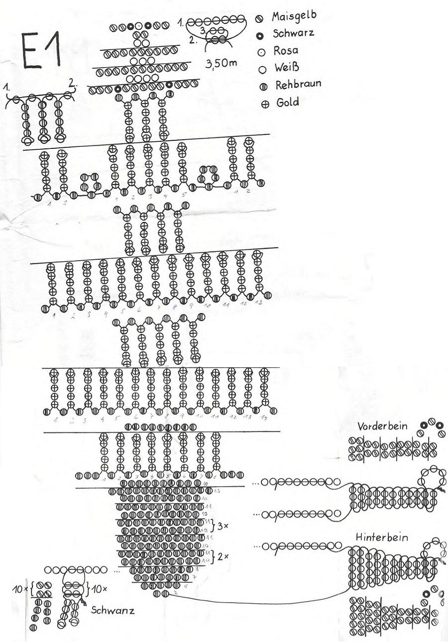 расшифровка схем плетения жгутов из бисера