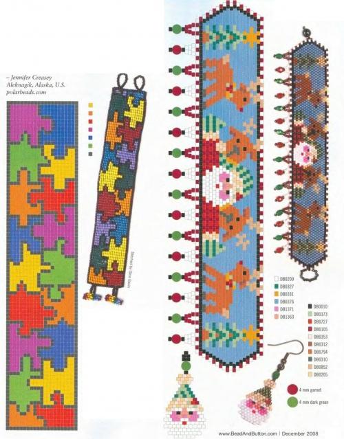 Разноцветные узоры из бисера