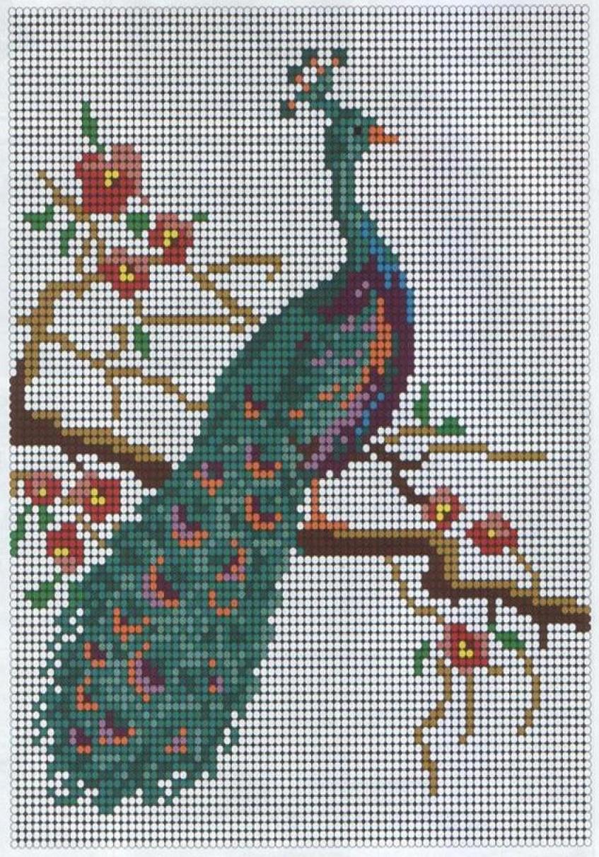 схема плетения павлина из бисера