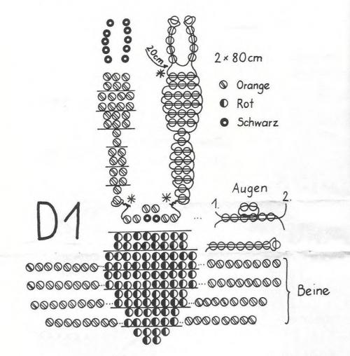Схема плетения краба из бисера