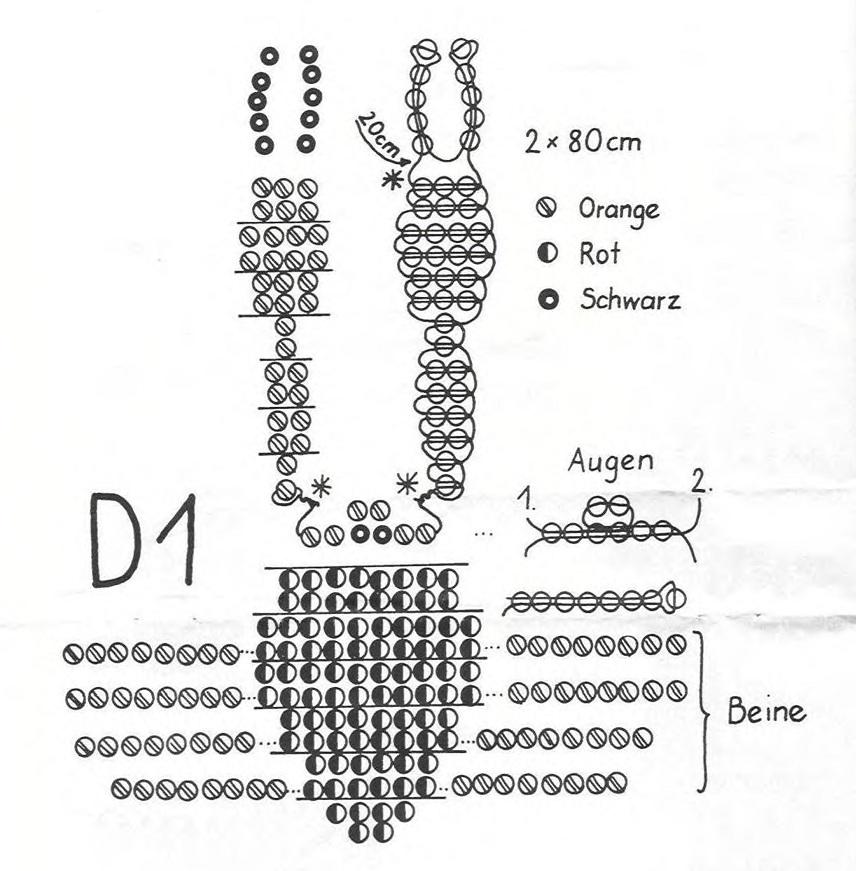 Схема плетения краба из бисера.