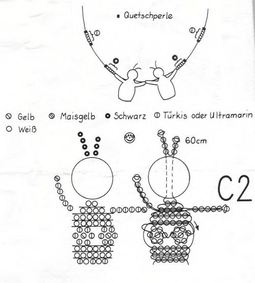 Схема плетения подвески с близнецами из бисера