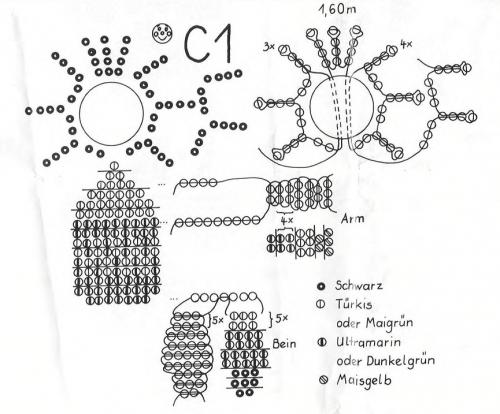 Схема плетения фигурок близнецов из бисера