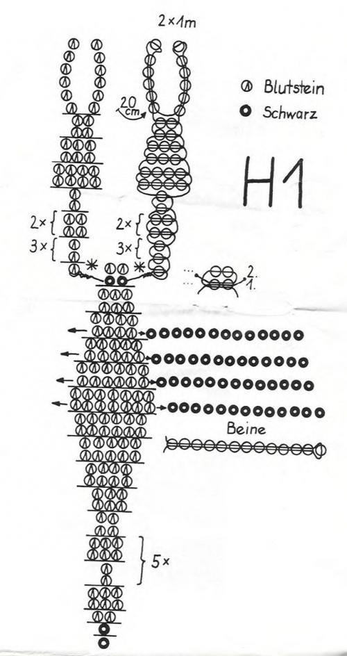 Схема плетения скорпиона из бисера