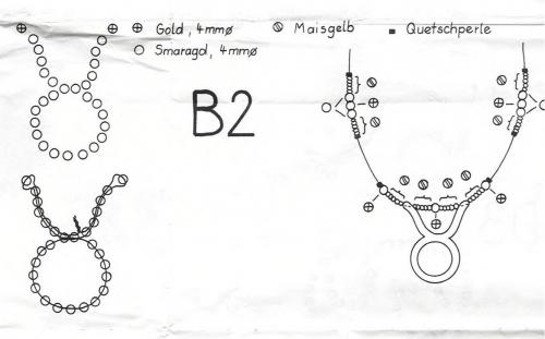 Вторая схема плетения тельца из бисера
