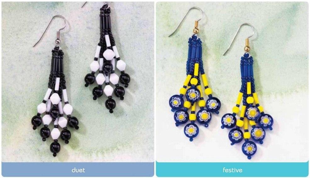 Необходимый материал для плетения.  Три варианта расцветки сережек.  Схема плетения простых серег.