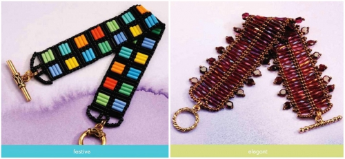 Радужный и коричневый браслет из бисера