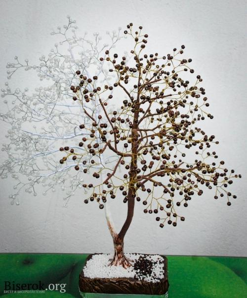 """Красивое дерево из белого и коричневого бисера  """"Шоколадница """".  Пошаговый мастер-класс его изготовления..."""