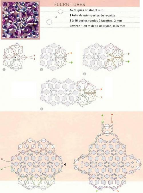 Схема плетения кольца из бисера рис. 3