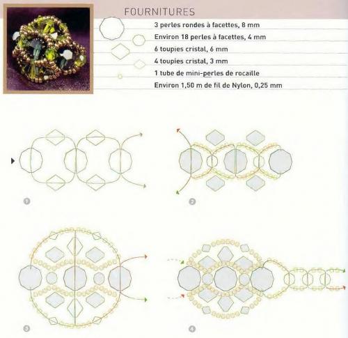 Схемы колец из бисера.