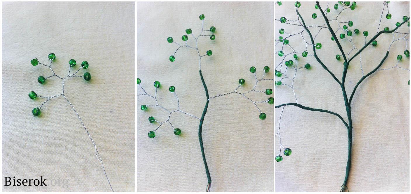 Как из бисера сделать дерево с пошаговым
