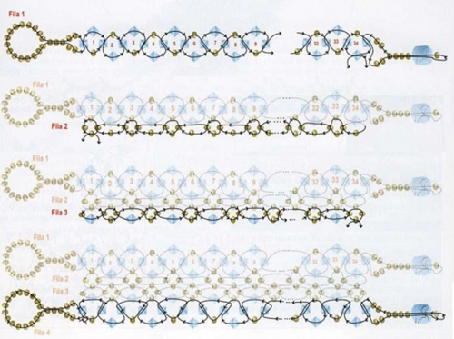 Схема плетения браслета и кольца
