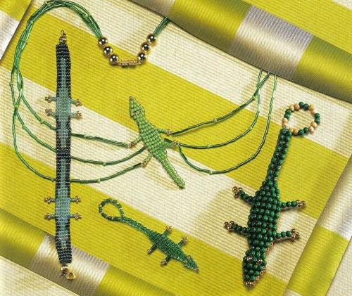 Браслет из бисера с крокодилами