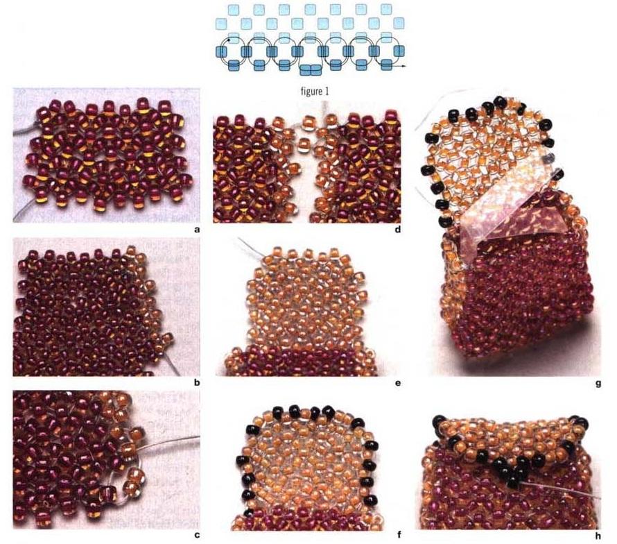 Плетение кошелька.  Сумка или кошелек из бисера.