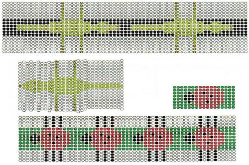 Схемы плетения браслетов с узором