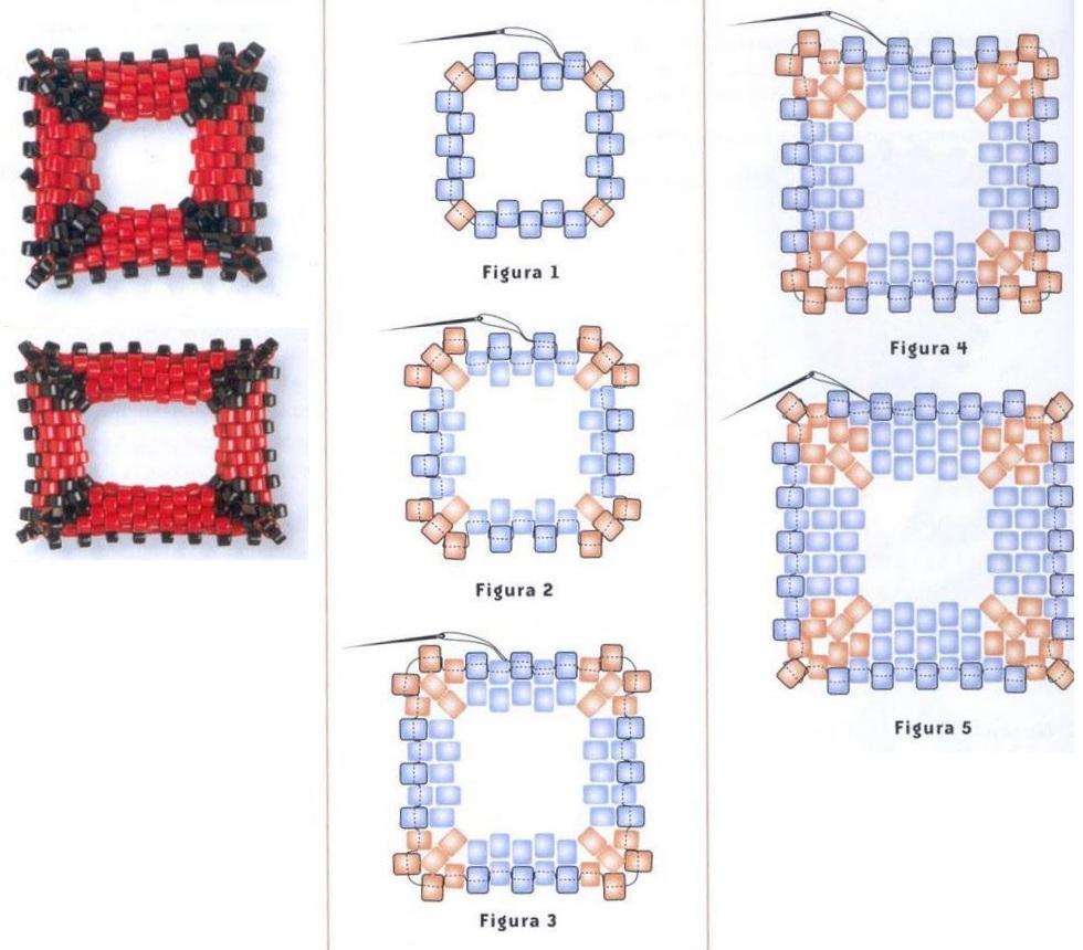 Квадратный бублик из бисера.  Схема квадрата.