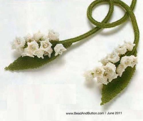 """Украшение на шею из бисера  """"Ландыши """" Необычный жгут с цветками ландыша, отличное сочетание разных техник плетение и..."""